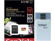 SanDisk 32GB 32G microSDHC Extreme 60MB/s U3 microSD 400X micro SD SDHC Class 10 UHS-I C10 Memory Card SDSDQXN-032G for Samsung Galaxy S4 S5 with USB 3.0 Card Reader