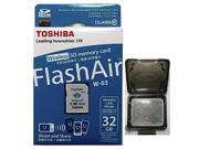 Toshiba FlashAir III 32GB W-03 Wireless LAN WIFI SD 32G SDHC Class 10 Flash Memory C10 Card Retail with OEM Multifunction Memory Card Protective Case