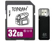 TOPRAM 32GB SD 32G SDHC Card Class 10 Ultra High Speed UHS-I for Camera & Camcorder with R3 Reader