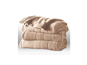 Sunbeam Heated Electric Blanket Channeled Microplush King Size Sand Tan