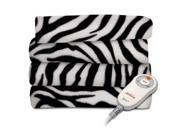 Sunbeam Electric Heated Fleece Warming Throw Blanket Zebra / Black