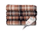 Sunbeam Microplush Electric Heated Throw Blanket in Aiden Plaid and Walnut