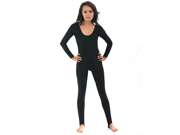 Black Scoop Neck Long Sleeve Unitard