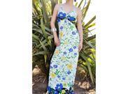 Floral Yellow,Blue Maxi Dress