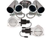 "QTP Dual 4"" Electric Exhaust Valves & Stainless Cutouts Y-Pipes"