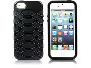 Aleratec Glossy Hybrid Case Dual / Double Layer Black TPU on Black Polycarbonate PC Cover for iPhone 5