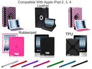Universal Stylus /Rubberized Case /Leather 360 Degree Stand Case /Hard TPU Case For Apple iPad 2, 3 & 4 (Pattern & Color Option Available)