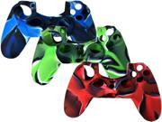 3 In 1 Gaming Controller Skin Case Set Pack - for PS4 Sony Playstation 4 - Red , Blue , Green (Silicone Rubber Gel Case)