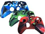 3 In 1 Gaming Controller Skin Case Set Pack - for XboxOne Microsoft X Box One - Red , Blue , Green (Silicone Rubber Gel Case)