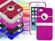 Hot Pink - Deluxe Chrome Hard Case Back Clip-on Cover with Stand for iphone 5 5G 5 5S 5th - New
