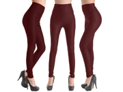 Hot Women's High Waist Faux Leather Sexy Look Tight Legging Pencil Type Pants - Wine Red - Large Size