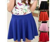 Candy Color Stretch Waist Plain Jersey Skater Flared Pleated casual Mini Skirt - (Select Colors)