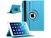 SmackTom Premium Swivel 360 Degree Smart Rotating Luxury PU Leather Power Magnetic Classic Case Cover for Apple iPad Air 5 5th Gen Retina Display 9.7 Inches - In Ligh Aqua Blue Color