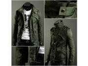 Military Style Men's Slim Fit Stand Collar Jacket Coat Zip Buttom Hoody Overcoat - ARMY GREEN - XXL