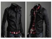 Military Style Men's Slim Fit Stand Collar Jacket Coat Zip Buttom Hoody Overcoat - BLACK - XL