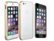 Luxury Aluminum Ultra-thin Metal Back Case Cover For iPhone 6 Plus 5.5 With Anti Glare Screen Protector - Gold