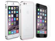 Luxury Aluminum Ultra-thin Metal Back Case Cover For iPhone 6 Plus 5.5 With Anti Glare Screen Protector - Silver