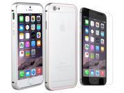 "2 in 1 Accessory Kit For Apple iPhone 6 Plus 5.5"" - Luxury Aluminium Metal Case Skin Cover + Anti Glare Screen Protector - Silver"