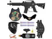US Army Alpha Black E-Grip Paintball Marker Gun 3Skull 4+1 Protector Mega Set