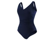 Speedo Endurance+ Side Shirred Contourback Plus Size Female Nautical Navy 22