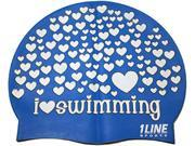 1Line Sports Love Swimming Silicone Swim Cap Royal