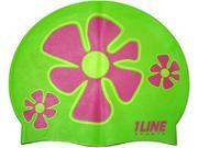 1Line Sports Flower Trio Silicone Swim Cap Green