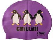 1Line Sports Chillin Silicone Swim Cap Purple