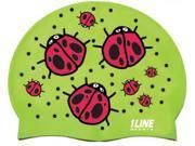 1Line Sports Ladybugs Silicone Swim Cap Green
