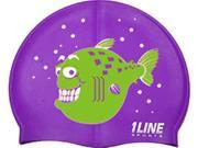 1Line Sports Happy Fish Silicone Swim Cap Purple