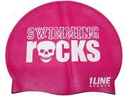 1Line Sports Swimming Rocks Silicone Swim Cap Pink