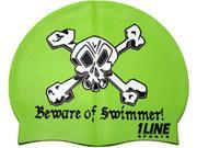 1Line Sports Beware of Swimmer Silicone Swim Cap Green