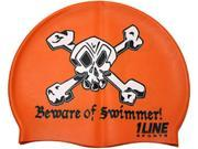 1Line Sports Beware of Swimmer Silicone Swim Cap Orange