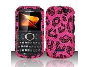 Motorola Clutch i475 Pink Leopard Full Diamond Design Snap-On Hard Case