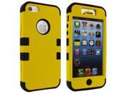 iPhone 5 Yellow Hybrid Rubberized Snap-On Hard Case with Black Silicone Inner Case