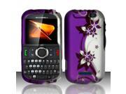 Motorola Clutch i475 Purple / Silver Vines Design Snap-On Hard Case
