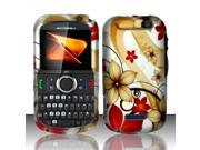 Motorola Clutch i475 Red / Tan Flowers Design Snap-On Hard Case