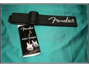 Fender Poly Logo Guitar Strap - Black with Grey Logo