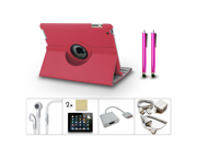 Bundle 10in1 Accessory for iPad 3 2 Case Charger Earphone Stylus HDMI Hot Pink