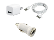 Data Cable + USB AC Home Wall + Car Charger for iPhone 2G 3G 4S 4 3GS iPod Touch