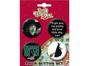 The Wizard of Oz Bad Witch 4 Piece Button Set
