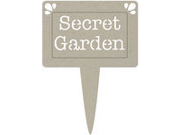 "Die-Cut Grey Chipboard Word-Secret Garden Pot Plant Tag 5""X3.5"""