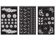 "Rub 'n' Etch Glass Etching Stencils 5""X8"" 3/Pkg-Floral Designs"