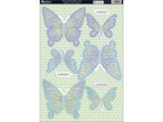 "Seasons Die-Cut Punch-Out Sheet 8""X12""-Spring Butterflies Aqua"
