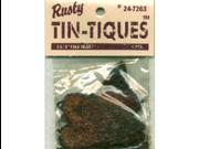"Rusty Tin-Tiques Tin Cut-Outs-Folk Heart 2-1/8"" 4/Pkg"