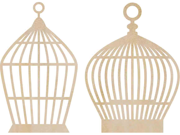 Wood Flourishes 2/Pkg-Birdcages