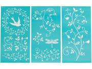 "Martha Stewart Large Stencils 3 Sheets/Pkg-Tendrils 8-3/4""X16-3/4"" 10 Designs"