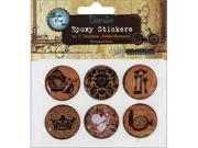 "Vintage Collection Epoxy Stickers 1"" 6/Pkg-Amber Romance"