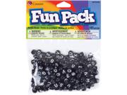Fun Pack Alphabet Beads-Round Black Mix 185/Pkg