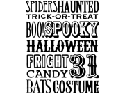 """Halloween Words 5""""X6.5"""" Tim Holtz Red Rubber Stamp Stampers Anonymous THRR1590-1753"""