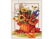"Pumpkin Floral Arrangement Counted Cross Stitch Kit-12""X16"" 14 Count"